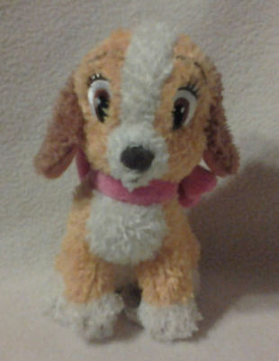 """Disney 5"""" LADY And The Tramp Plush Stuffed Puppy Dog Toy Pink Bow"""