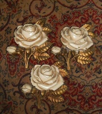 "SET OF 3 / THREE ""HOMCO"" 1970's WHITE ROSE WALL PLAQUES HOLLYWOOD REGENCY STYLE"