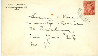 Envelope St Andrews by the sea NB Canada to SOCONY New York New York