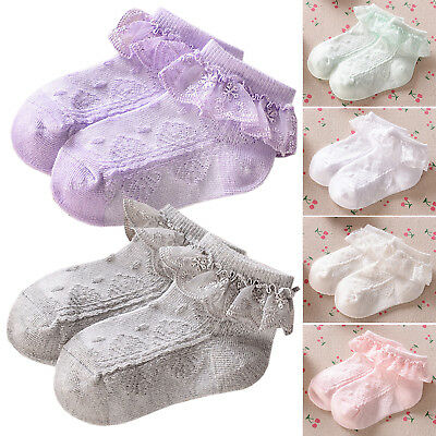 Baby Lace Sock Girls Tiny Newborn Spanish Knitted Cotton Blend Ankle Socks GOOD