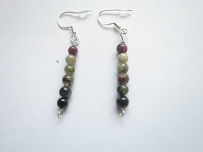 jewelry 5.95ct multi-color genuine tourmaline solid 925 sterling silver earrings
