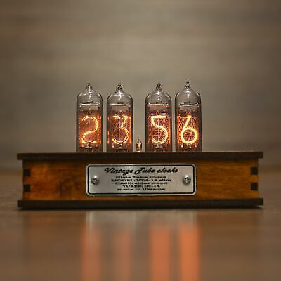 Nixie Tube Clock 4x IN-14 Nixie Clock Vintage Retro Desk Table Clock Wooden Case