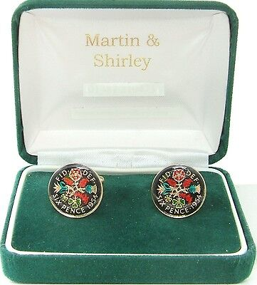 1954 Six pence cufflinks from real coins Black& Colours