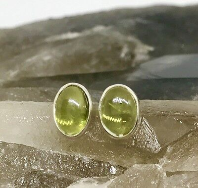 Sterling Silver & Peridot Oval Stud Earrings 8x6mm - Healing Crystal Gemstones