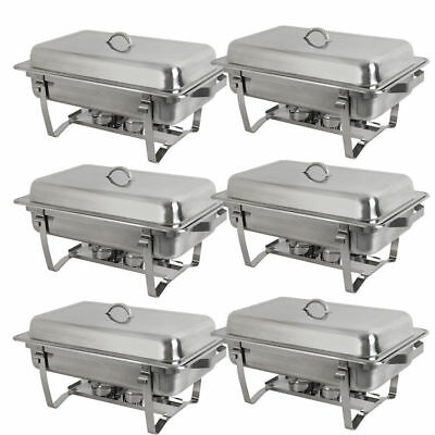 Choice 6 Pack of 8 Quart Stainless Steel Rectangular Chafing Dish Full Size