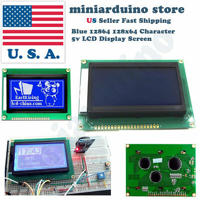 12864 128 x 64 Graphic Symbol Font LCD Display Module Blue Backlight For Arduino