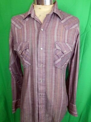 Vintage 70s Purple Mauve Soft Poly/Cotton Western Cowboy Shirt Pearl Snaps M