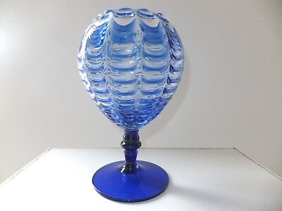 Vintage Murano Italian Clear with Draped Cobalt Blue Glass Vase/Brandy Balloon
