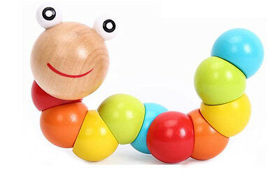 Cute Baby Kids Twist Caterpillar Wooden Toy Creative Educational Gift