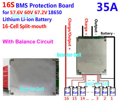 35A BMS PCB board PCM w/ Balance for e-bike ebicycle 60V 16S Li-ion Battery Pack