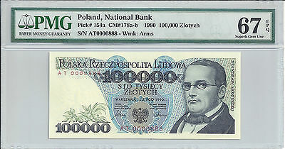 BANK of POLAND FANCY SERIAL # 0000888 - 100,000 ZLOTYCH 1990 ( #186)