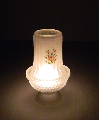 """Frosted Glass Fairy Lamp Tealight Candle Holder Litho Pink Flowers 6.5"""" H"""
