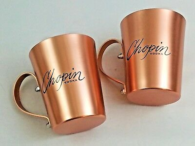 Chopin Vodka Moscow Mule Mug, Coffee Cup, Lightweight Copper (Set of 2 Mugs)