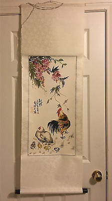Vintage Chinese Watercolor Painting Scroll Signed
