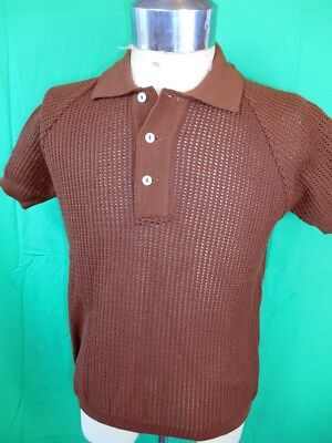 NEW-OLD Vintage 60s Dark Brown Acrylic Open Weave Purlow Mod Style Polo Shirt S