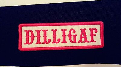 DILLIGAF Red & White Patch.Biker 1%er