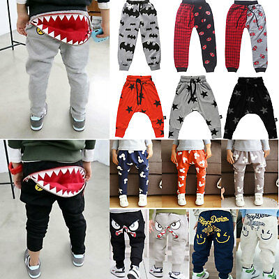 Kids Baby Boys Girls Harem Pants Trousers Casual Jogger Elastic Bottom Sweatpant