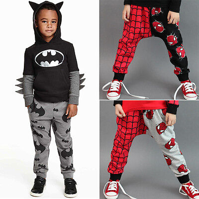 Kids Baby Boys Toddler Spiderman Harem Pants Bottom Loose Jogger Long Trousers