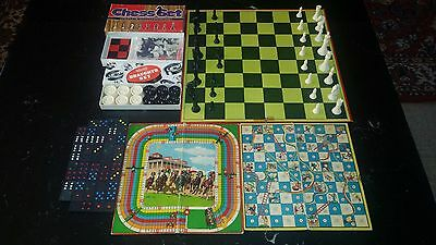 Mixed lot of Vintage Games Chess,Draughts,Dominoes + 2 game boards