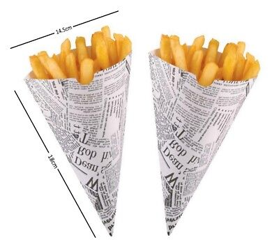 Newspaper Print Disposable Paper Bags Fast Food Chip Buckets Serving Scoop Cones