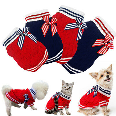 Hand Knit Dog Jumpers Small Dog Cat Puppy Sweaters Doggie Chihuahua Xmas Clothes