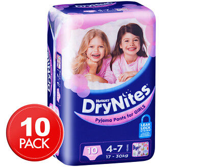 Huggies DryNites Pyjama Pants Girls 4-7 Years 10pk
