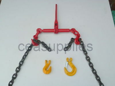 "RATCHET LOAD BINDER 3/8 -1/2"" 8mm/10mm WITH CHAIN TIE DOWN STRAPS DOG DWANG"