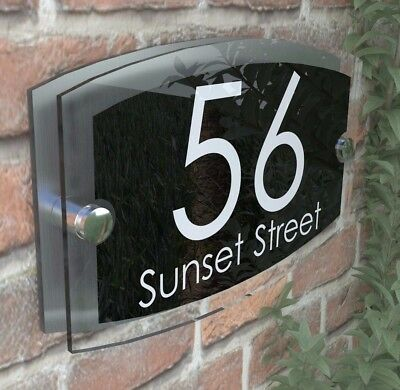 Contemporary House Signs Plaques Door Numbers 1 - 9999 Personalised Name Sign