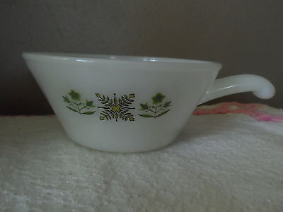 Vintage Fire King Meadow Green French Handles Milk Glass Bowl