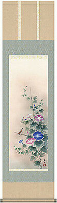 japanese hanging scroll  Morning glory and sparrow
