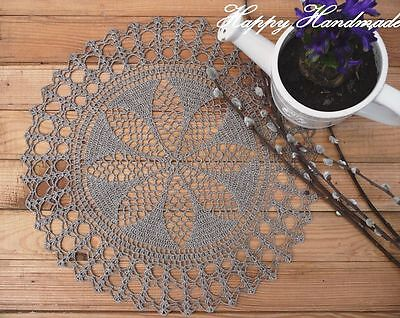 HaHa Large Natural Grey Linen Crochet 36cm (14 inch) Round Doily/ made-to-order