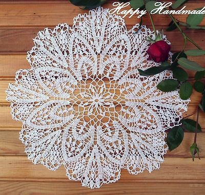 HaHa White Linen (42 cm - 16 inch) Large Round Crochet Doily/made-to-order
