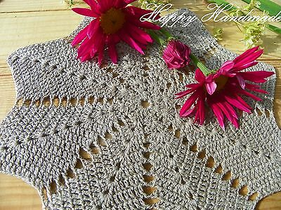 HaHa Set of 7 Grey Crochet (6x 17cm and 1x 20cm) Linen Doilies/made-to-order