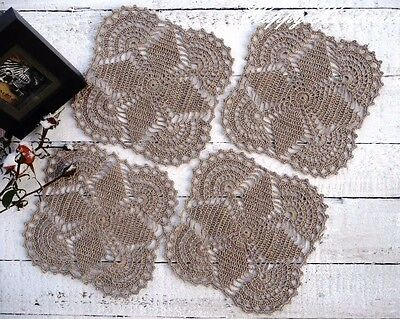HaHa Set of 4 Linen (17x17 cm - 7 inch) Crochet Doilies Coasters/made-to-order