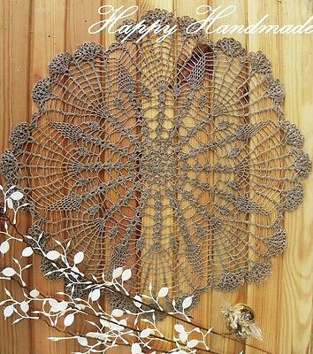 HaHa Large Grey Linen Crochet 46cm (18 inch) Doily / wedding/ made-to-order