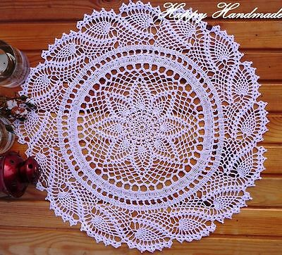 HaHa White Linen (50 cm - 19 inch) Large Round Crochet Doily / made-to-order