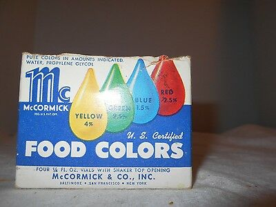 Vintage Collectible McCormick Glass Food Coloring Containers 1/4 oz