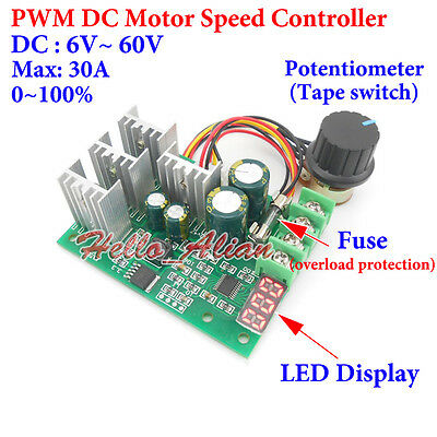 Motor Controller Electrical Equipments & Supplies Pwm Dc Motor Speed Controller Digital Display 0~100% Adjustable Drive Module 6v~60v Input Max30a
