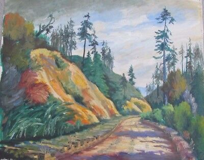 Vintage Oil Painting Mountain Rd by Beatrice Ash 1938