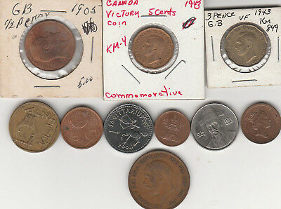 Ten  (10) Different  Coins  From Around The Globe