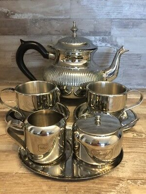 Stainless Steel Service For Two Person Teapot Coffeepot Cups Sugar bowl Milk jug