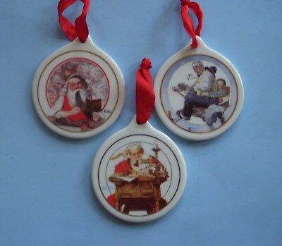 Set of 3 Vintage JC Penney  Norman Rockwell Christmas Ornaments 1996, 1997, 1998
