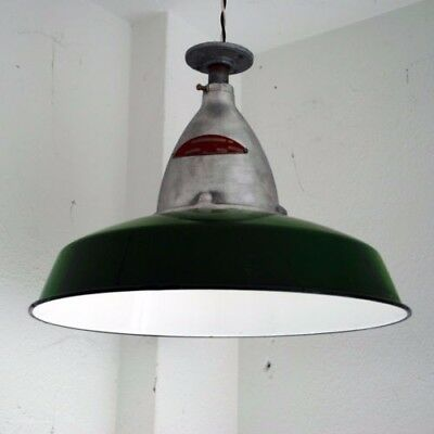 Vintage Crouse-Hinds Industrial Light with Green Porcelain Enamel Shade