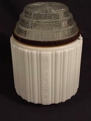 Antique Milk Glass & Clear Art Deco Skyscraper Pendant Globes Light Lamp Shade