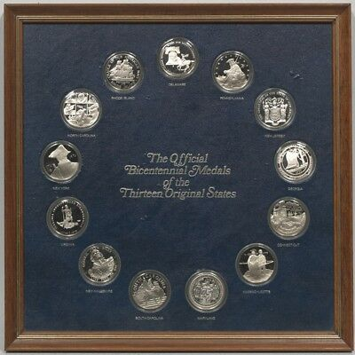 Solid sterling silver proof coins medals 13 original states in a Franklin Mint