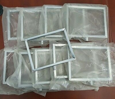 """NEW LOT OF TEN - Double sided Chrome Metal Sign Holder Stem Mount 5"""" x 7"""" - 4A"""