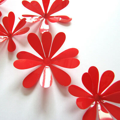 High Quality Durable Vinyl Industrial Wall Sticker Decal 3D Flower Red New