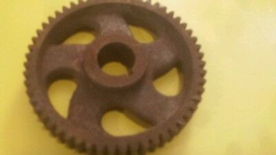Nice  Vintage Barn Find Gear Driven Cast Iron Industrial Wheels Steampunk Pulley