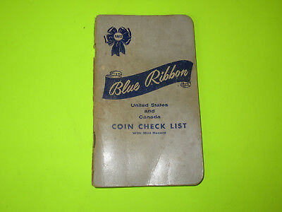 Vintage Blue Ribbon United States And Canada Coin Check List Book