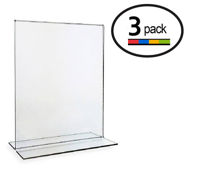 8.5 x 11 Clear Acrylic Bottom Load Plastic Display Sign Holder Frames (3)